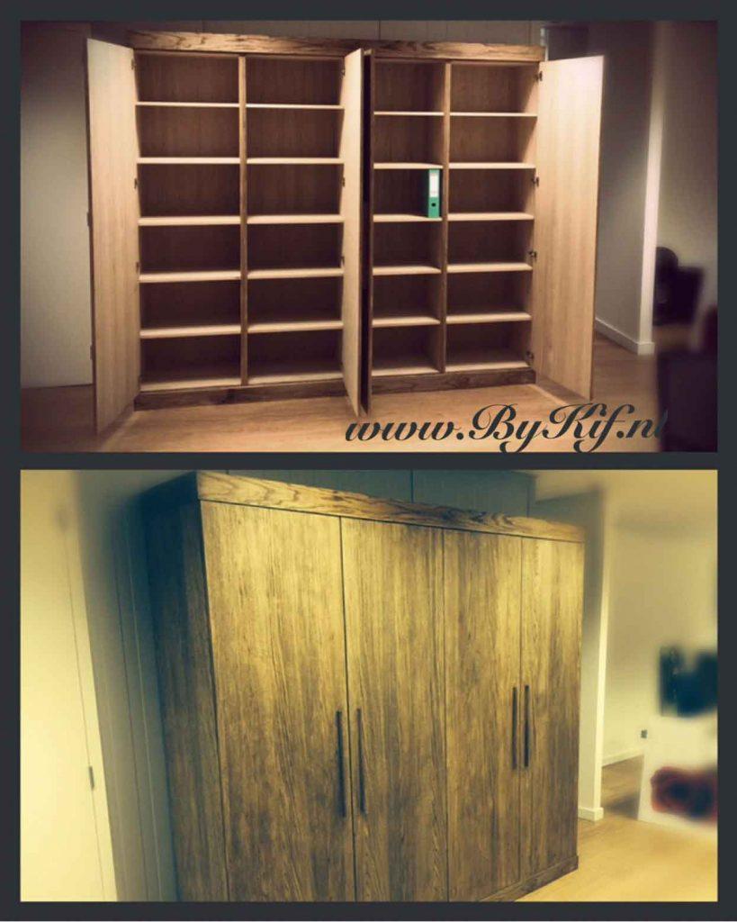 Kantoorkast en kledingkast van steigerhout