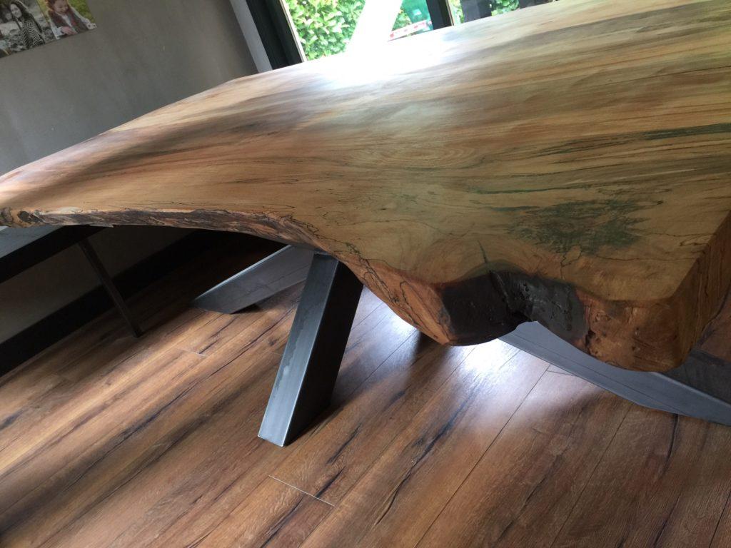 industriele tafel met boomstamblad xxl