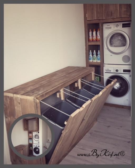 opbergkast van steigerhout wasgoed